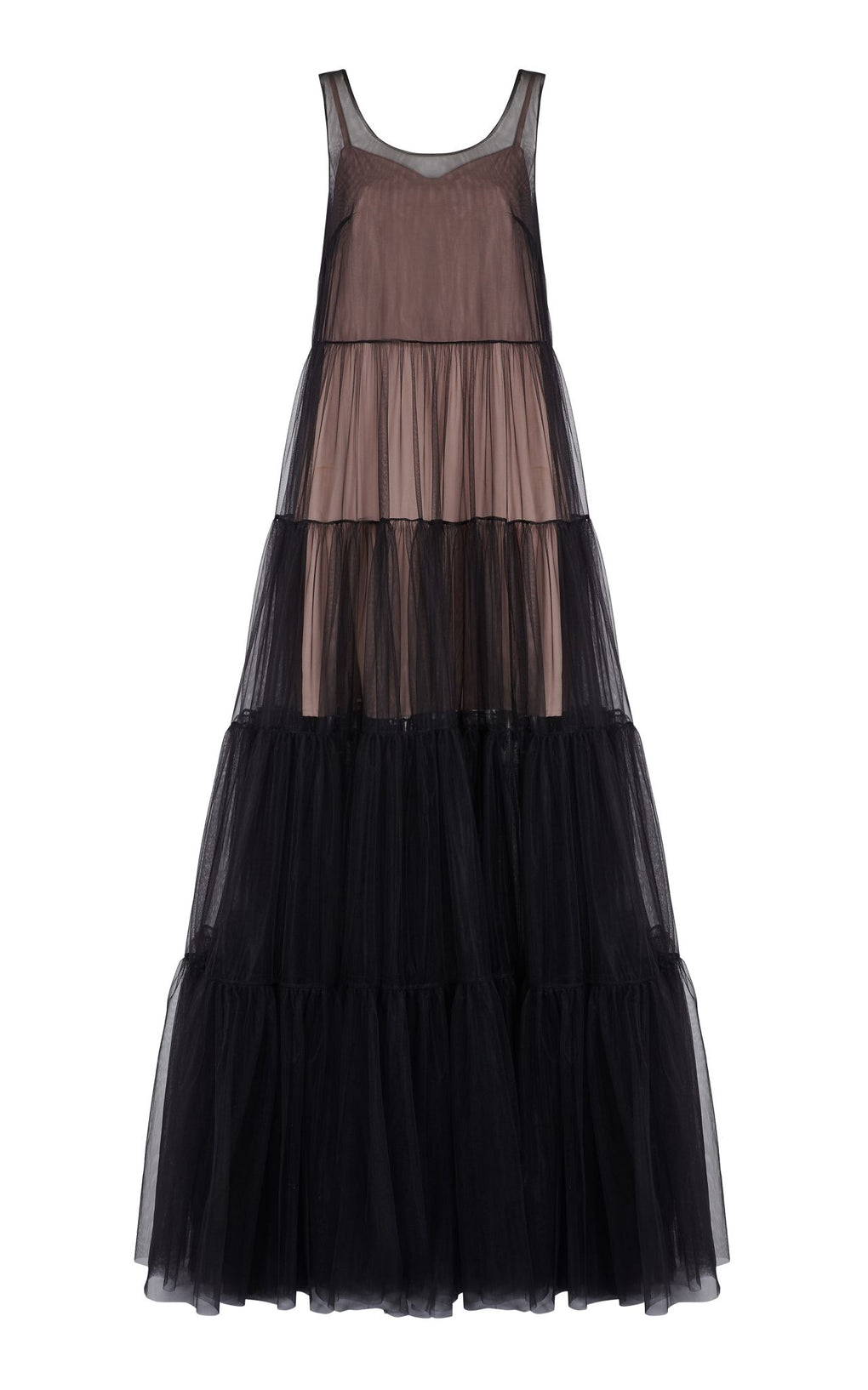 Black tulle layered shift dress
