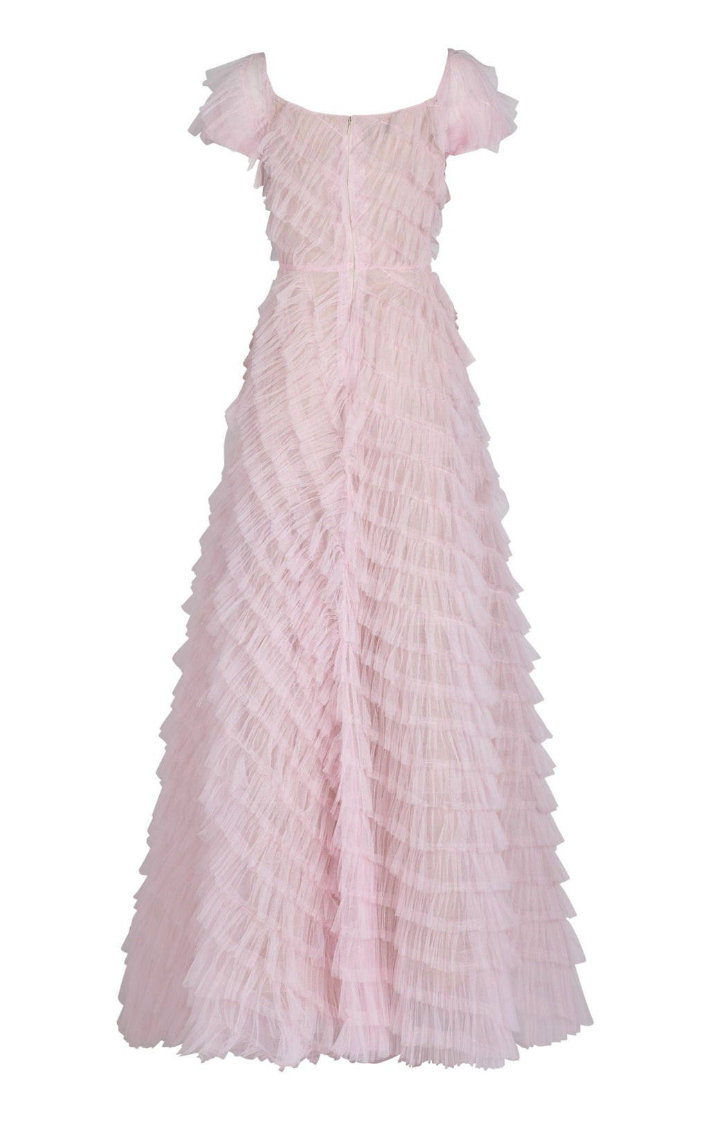 Pink tulle short sleeve gown