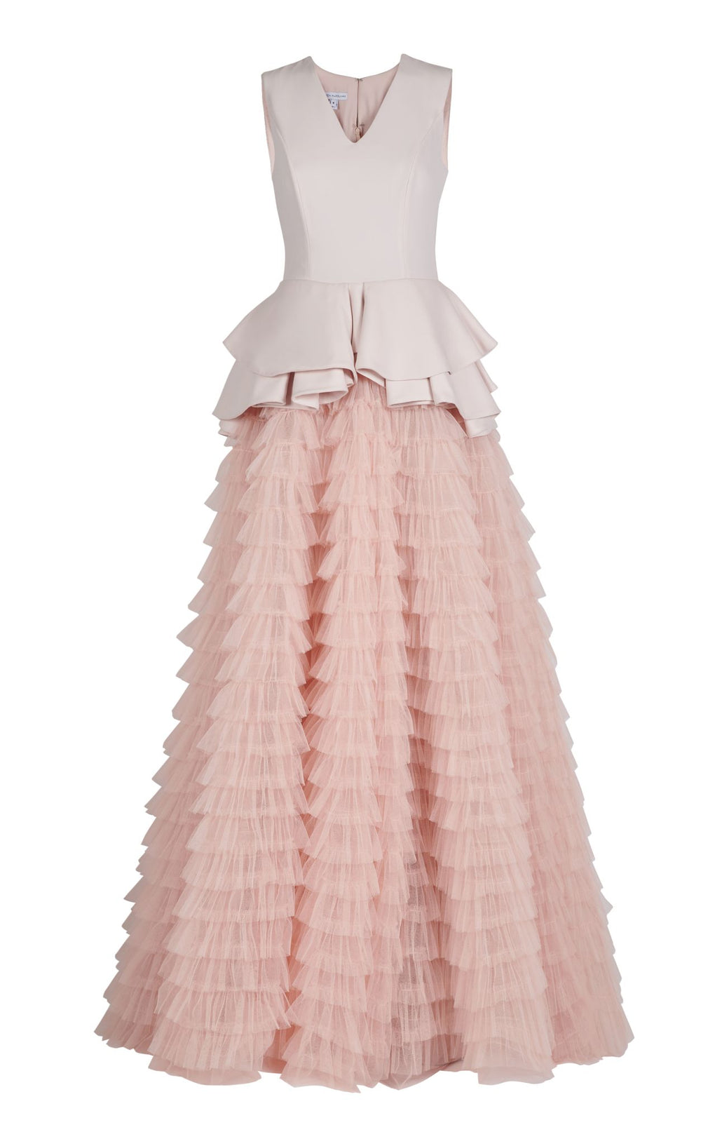 Pink crepe v neck ball gown with tulle skirt