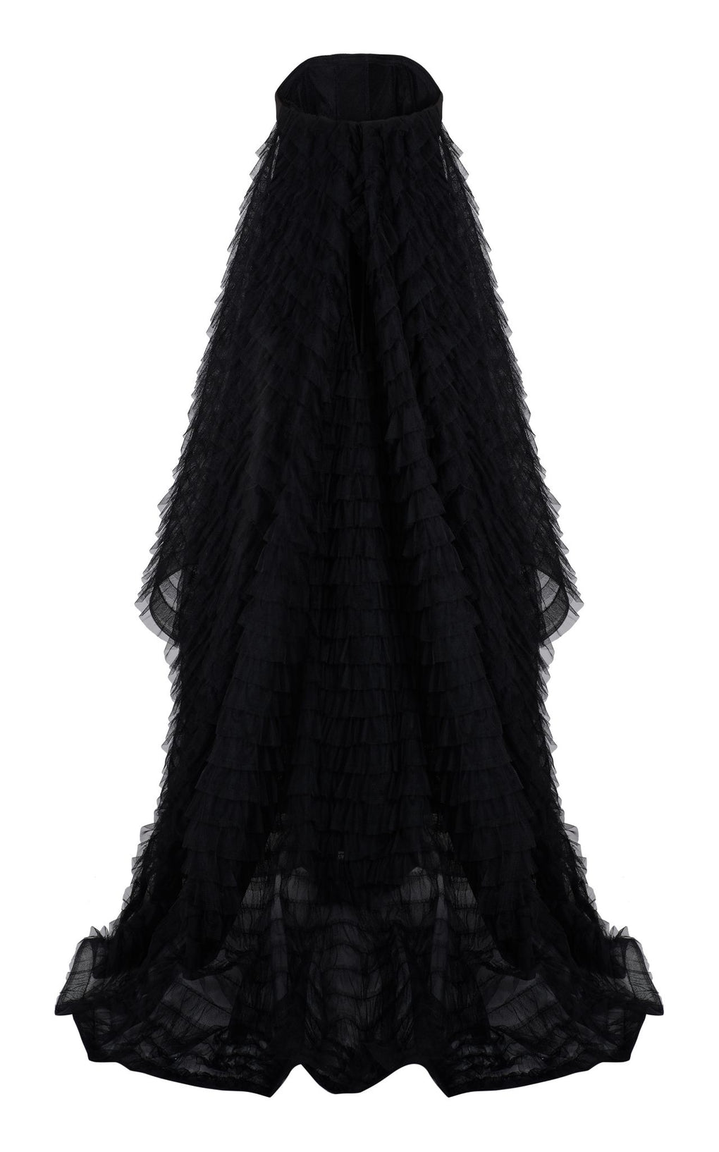 Black skinny gown with tulle train