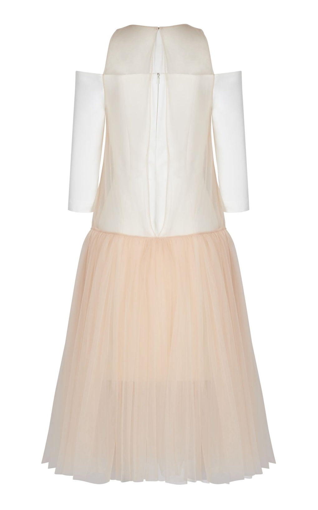 Nude tulle off white dress