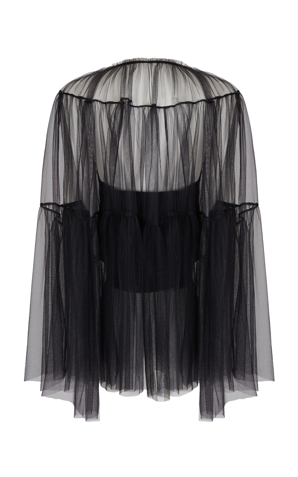Black crop cape tulle top