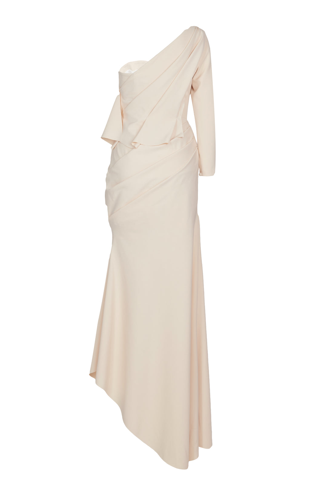 Draped one sleeve skinny gown