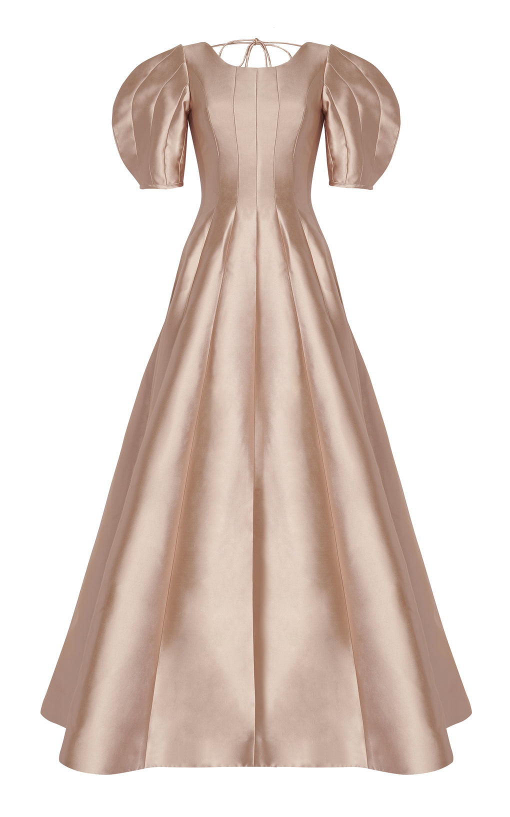 Puff sleeve gown with open back and tie detail