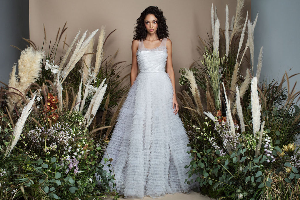 Grey appliqued tulle ball gown