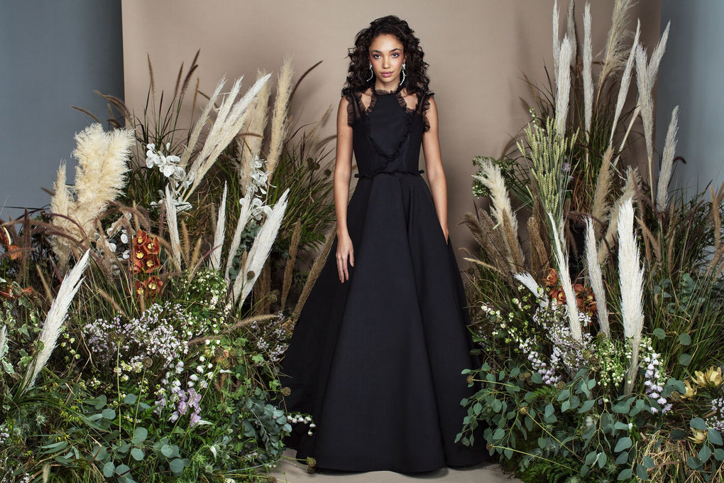 Black high neck crepe ball gown