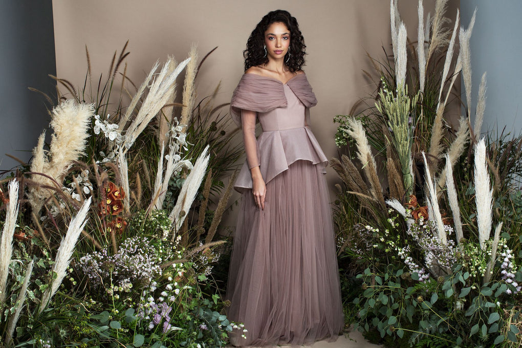 Khaki off shoulder tulle ball gown