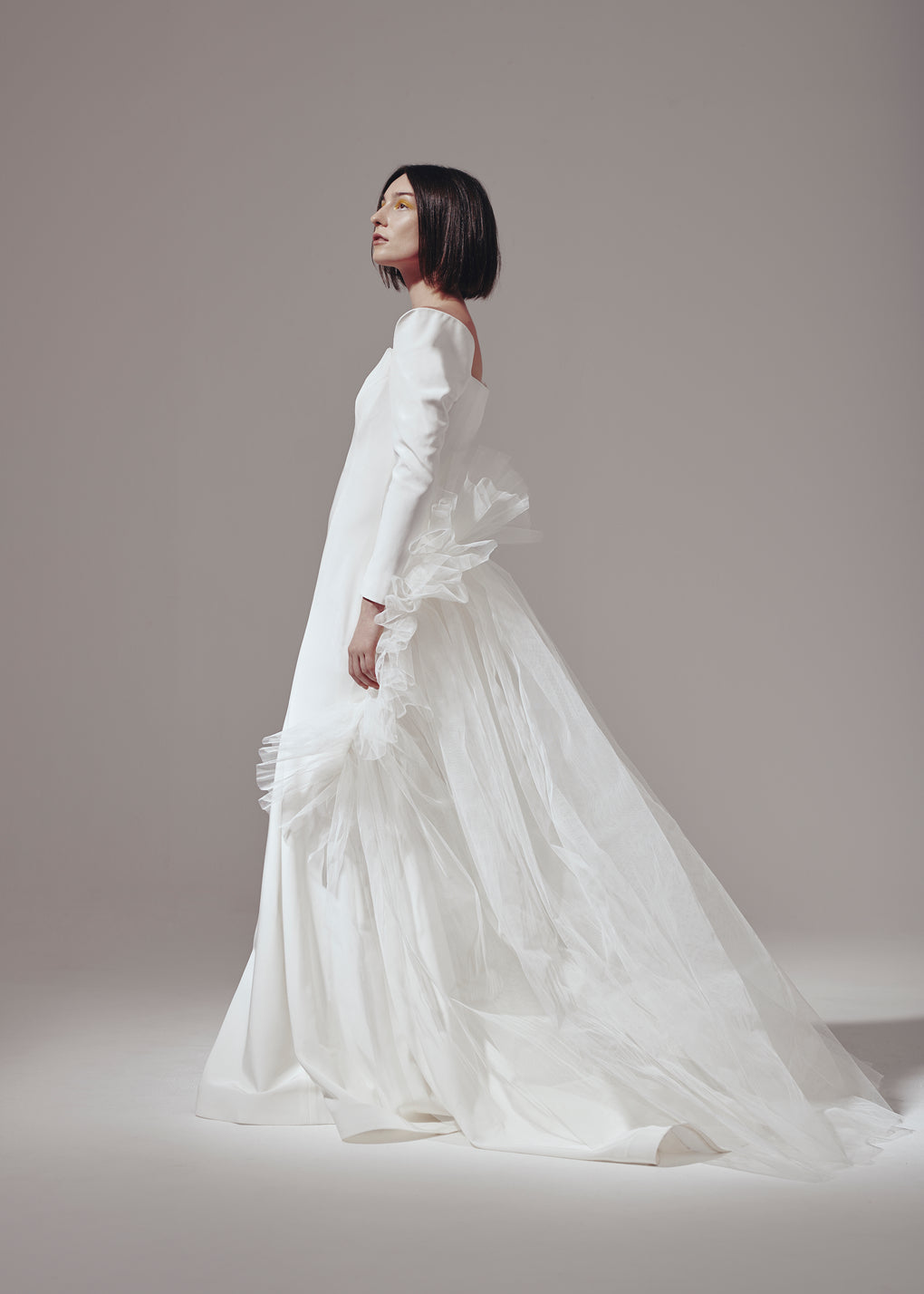 Long Sleeve Off-White Gown