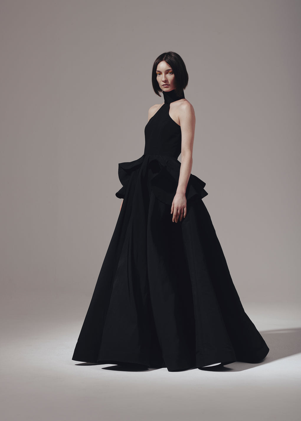 Highneck Ruffle Pocket Gown