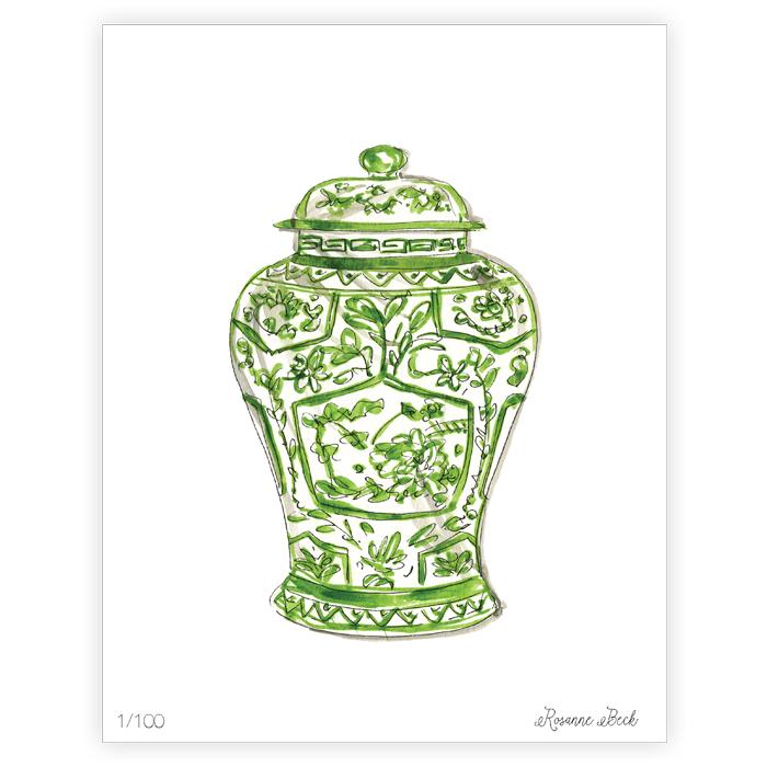 Handpainted Green Chinoiserie Vase Framed