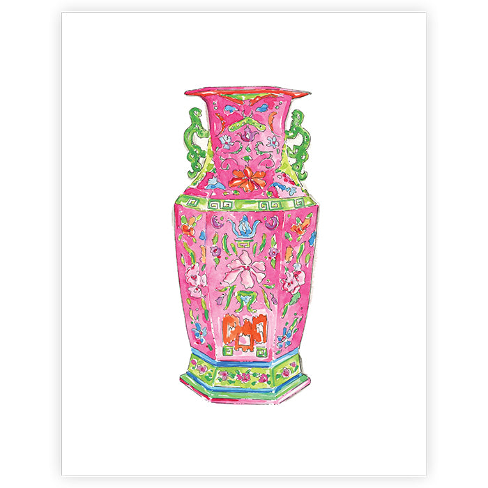 Pink Chinoiserie Vase Print - 11x14