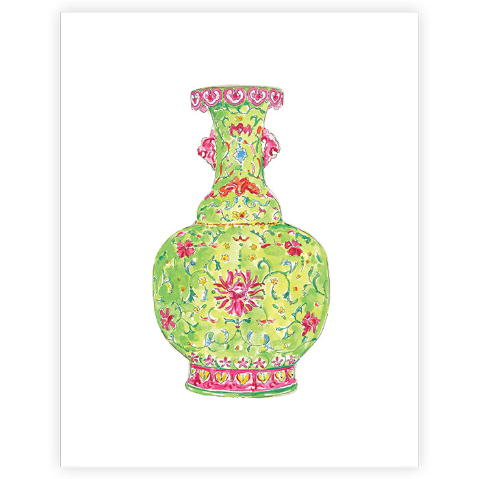 Lime Chinoiserie Vase Print - 11x14