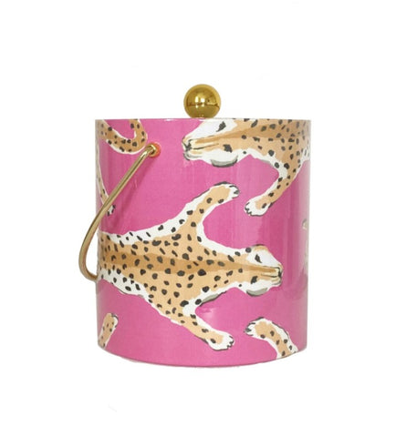 Dana Gibson Leopard Ice Bucket (pink or orange)