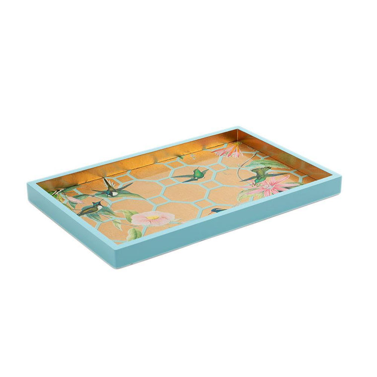 Hummingbird Trellis Lacquer Vanity Tray In Gold