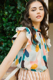 Mixed Color Flutter Blouse