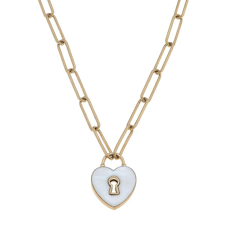 Monclér Enamel Heart Padlock Necklace in White