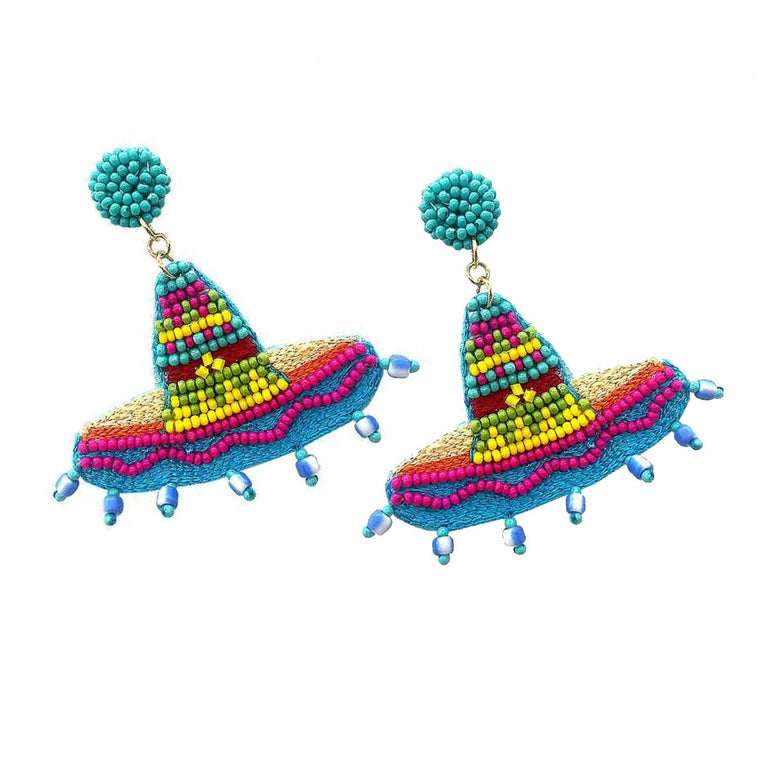 Sombrero Seed Bead Statement Earrings - Blue