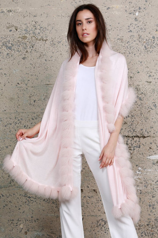 Cashmere Wrap With Fox Fur Pom-Pom Trim