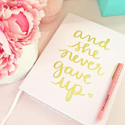 And She Never Gave Up Hard Cover Journal