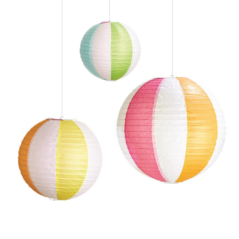 Beach Ball Set of 3 Paper Decorative Lanterns in Gift Pack Includes 3 Sizes