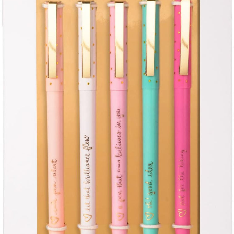 Dayna Lee Set Of 5 Gold Pens