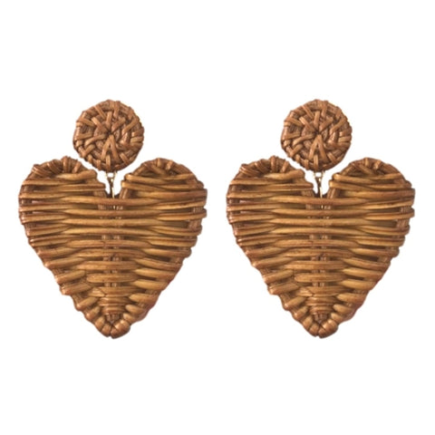 Rattan Valentine's Hearts Earrings (natural or red)