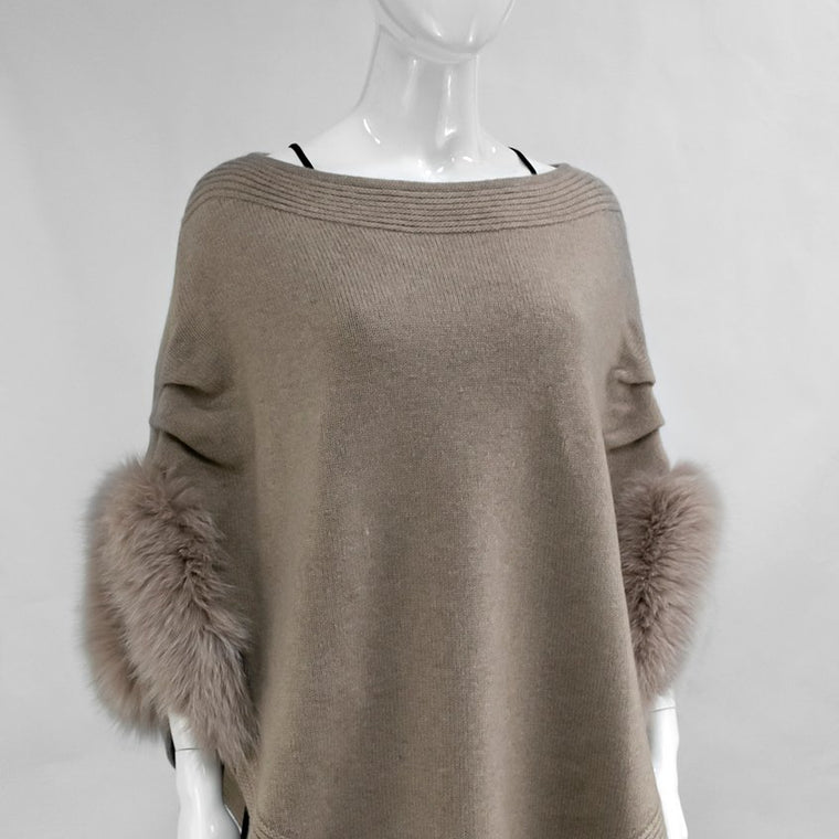 Beige Knitted Poncho With Fox Trim