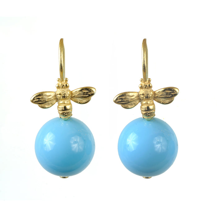 Blue Honey Bee Earring