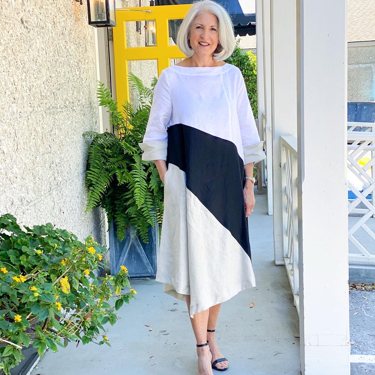Linen Color Block Dress