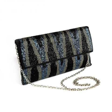 Ikat Black Clutch