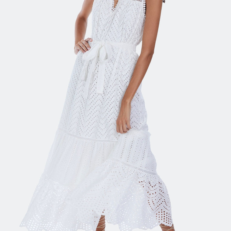 Mixed Eyelet Maxi Dress