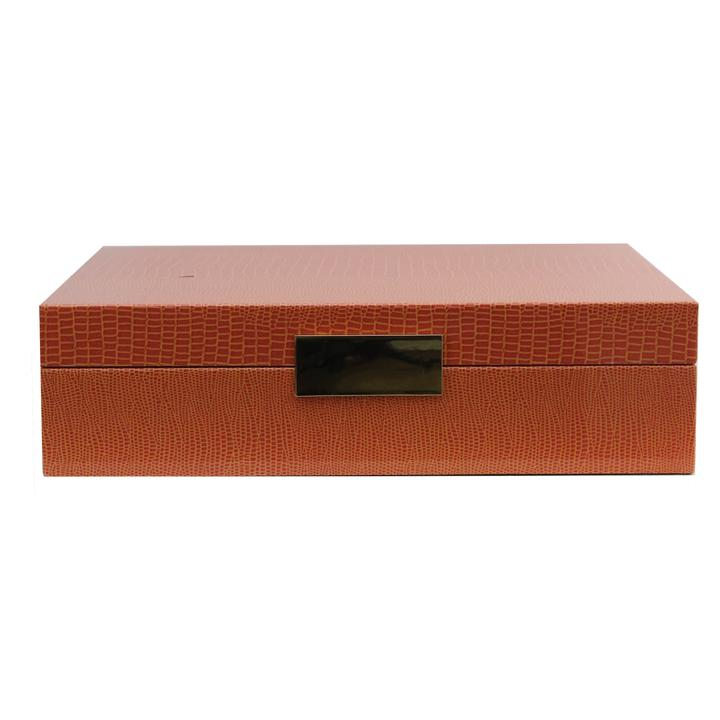 8x11 Lacquered Orange Croc Jewelry Box