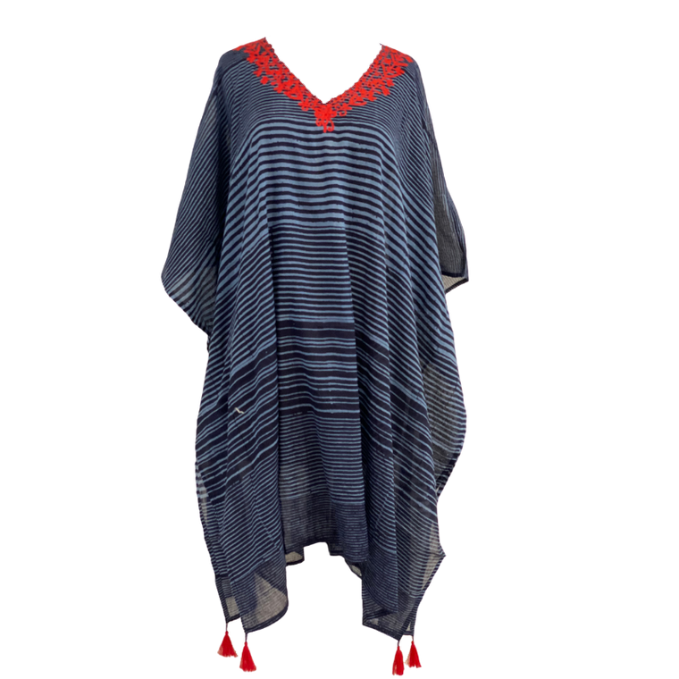 Cover-up with red tassel detail