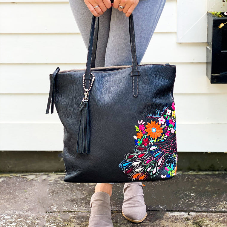 Consuela Leather Market Tote