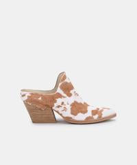 Lindsy Mules in Tan Taurus Calf Hair