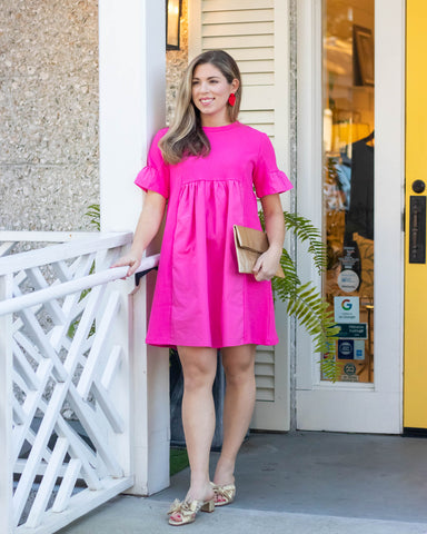 Fuchsia Solid Mini Dress
