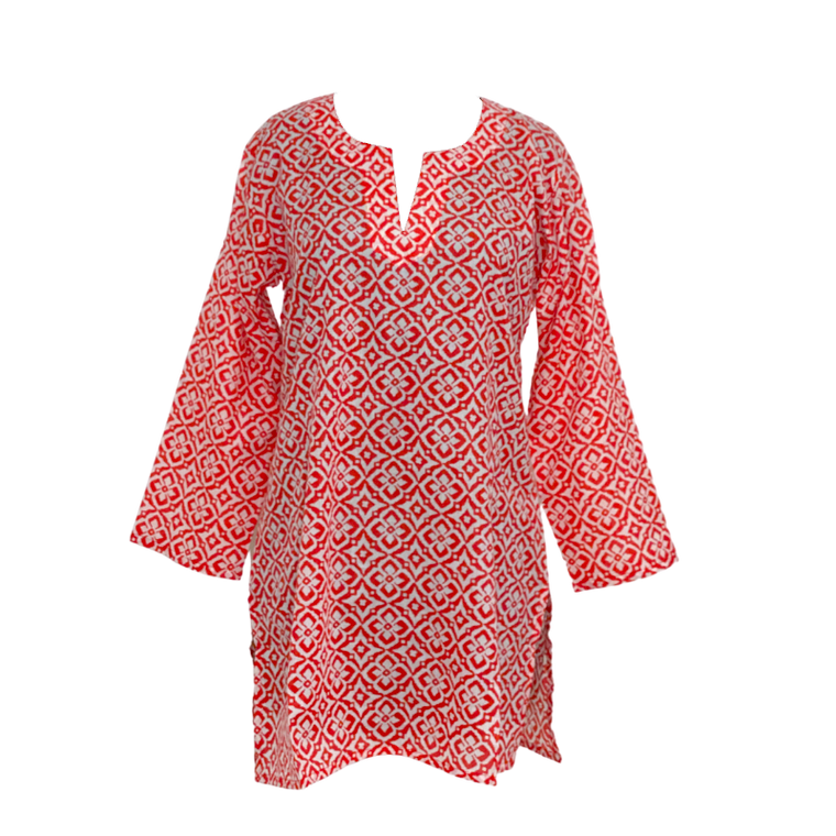 Red print tunic