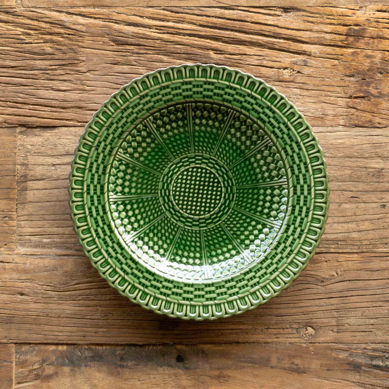 Green Glazed Basketweave Plate, 9