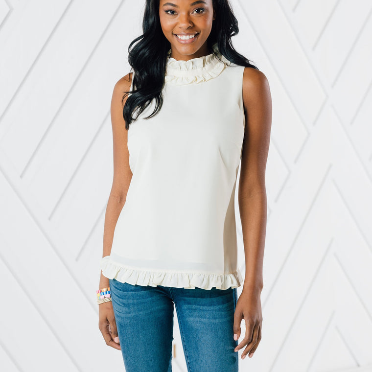Ivory Double Ruffle Top