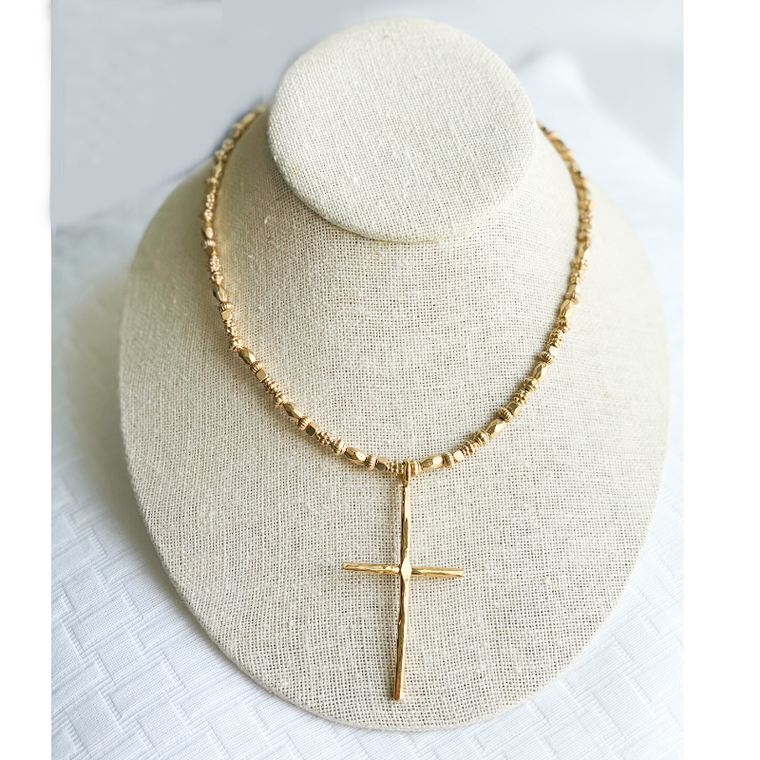 Short Gold Necklace with Cross Pendant