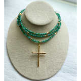 Janet GreggGreen Agate and Gold Beaded Necklace