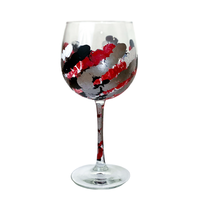 UGA Painted Wine Glass