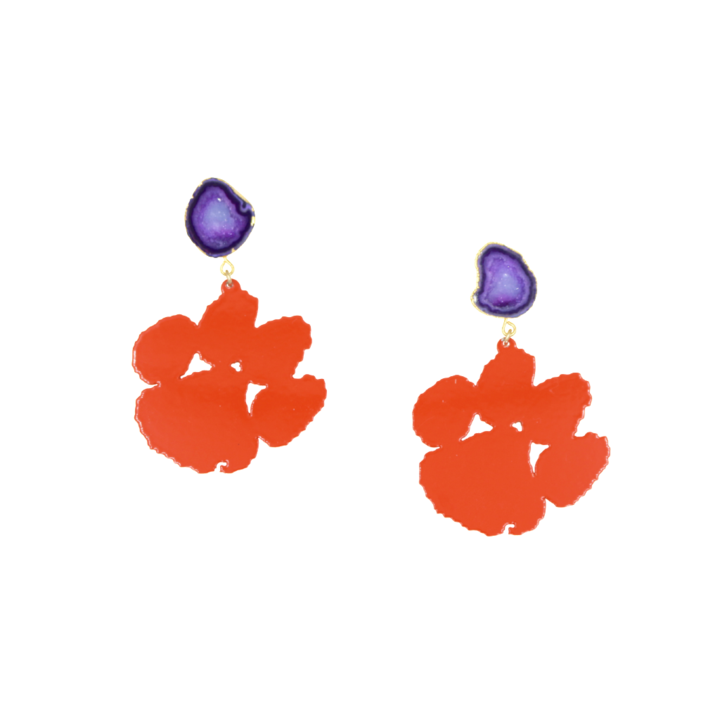 Clemson Orange Paw Earrings with Purple Geode