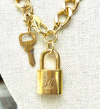 Gold Vintage Louis V Lock Necklace