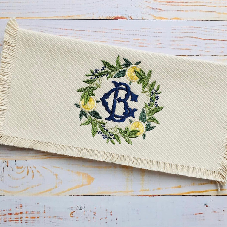 Monogrammed Fringe Clutch with Lemon Wreath Monogram