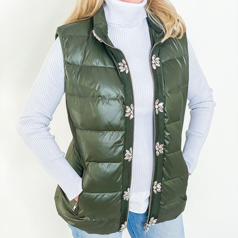 GlamourPuss NYC Down Vest Army Green