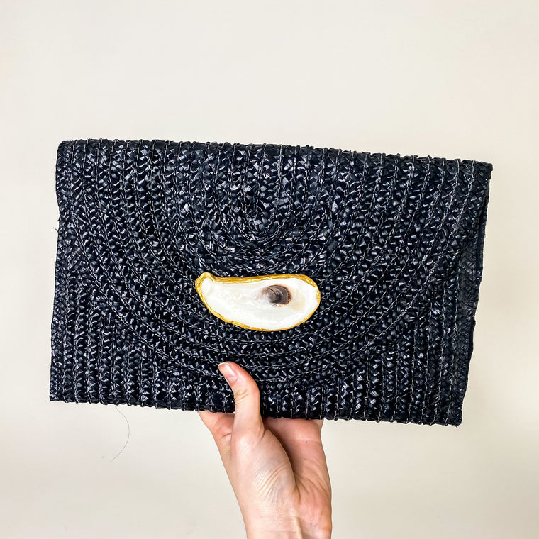 Holly Shae Straw Clutch Black