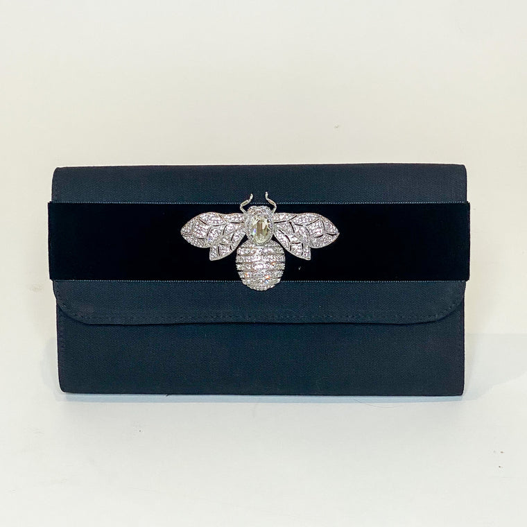 Lisi Lerch Avery Clutch With Velvet Band & Rhinestone Bee