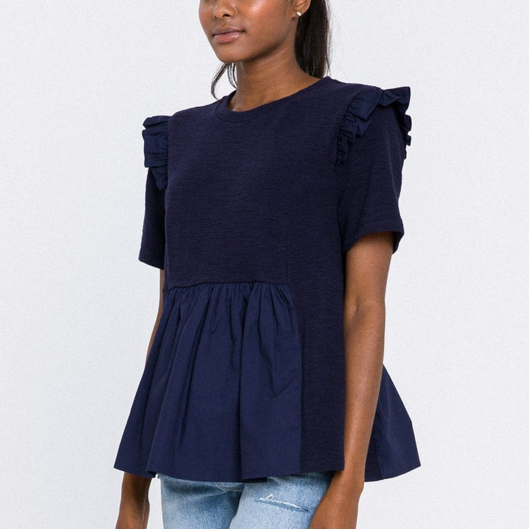 Knit Poplin Mixed Ruffle Top
