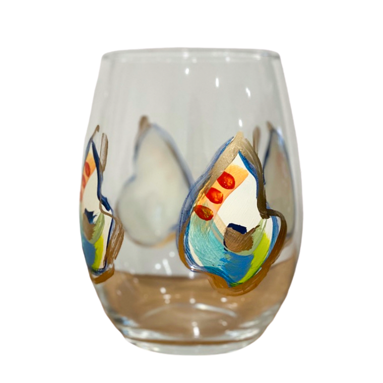 Jazzy Oyster - Hand painted Wine Glass